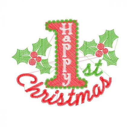 1st Christmas Holly - Embroidery Design - Stitch View