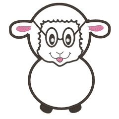 Geeky Sheep Applique - Real View