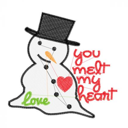 Melting Snowman - Christmas Embroidery Design - Stitch View