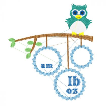 Owl Birth Block - Stitch View