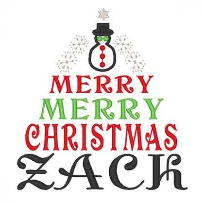 Snowman and Christmas Tree Zack Embroidery Design - Real View Filled