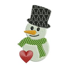 Snowman with Heart and Hat Christmas Embroidery Design - Real View