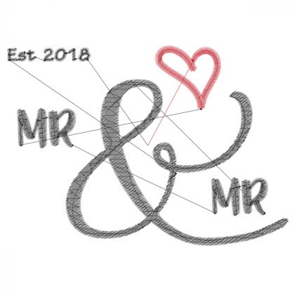 Mr & Mr - Wedding Embroidery Design - Threaded Scribbles