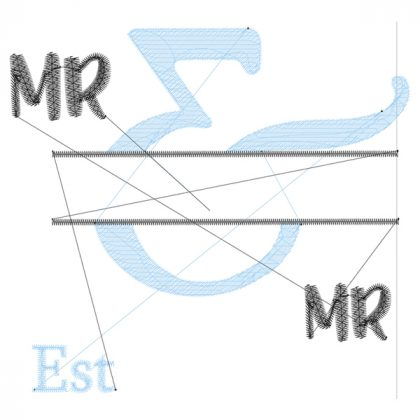 Mr & Mr - Style 1 - Wedding Embroidery Designs - Threaded Scribbles