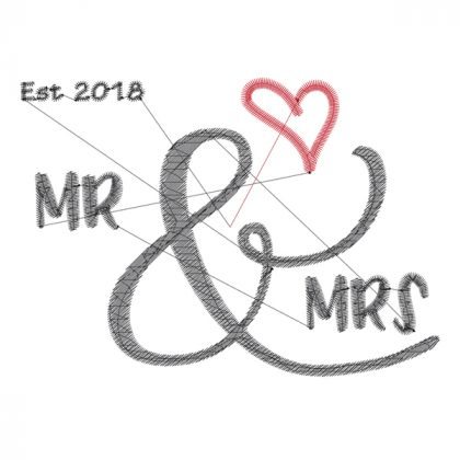 Mr & Mrs - Wedding Embroidery Design - Threaded Scribbles