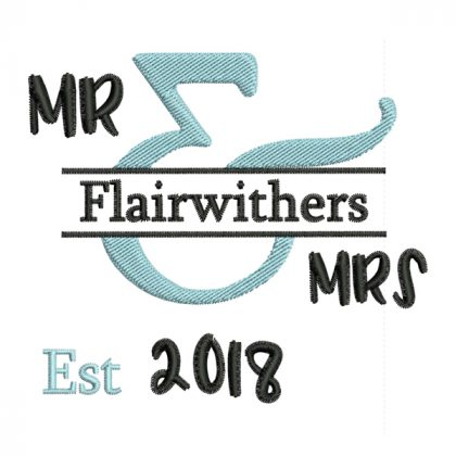 Mr & Mrs - Style 1 - Wedding Embroidery Designs - Threaded Scribbles