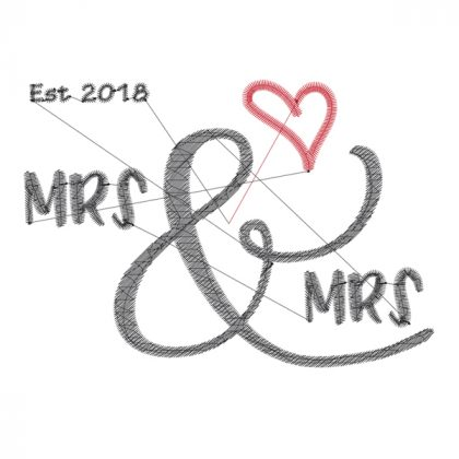 Mrs & Mrs - Wedding Embroidery Design - Threaded Scribbles