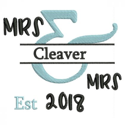 Mrs & Mrs - Style 1 - Wedding Embroidery Designs - Threaded Scribbles