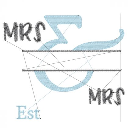 Mrs & Mrs - Style 1- Wedding Embroidery Designs - Threaded Scribbles