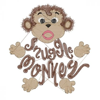 Snuggle Monkey with Name | 4 x 4 Embroidery Designs | Threaded Scribble