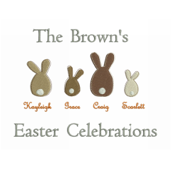Bunny Family Embroidery Design | Easter Embroidery | Threaded Scribbles
