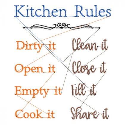 Kitchen Rules - Stitch View - Threaded Scribbles