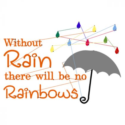 Without rain there would be no rainbows - Stitch View - Threaded Scribbles