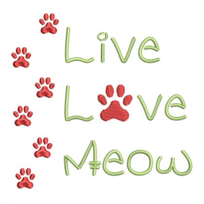 Live Love Meow - Real View - Threaded Scribbles