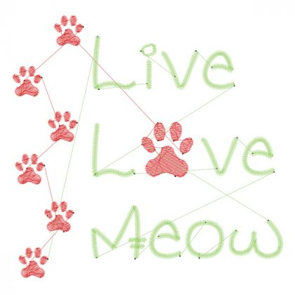 Live Love Meow - Stitch View - Threaded Scribbles