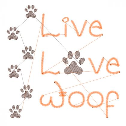 Live Love Woof - Stitch View - Threaded Scribbles