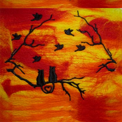 Sunset Cats Stitch out-Threaded Scribbles