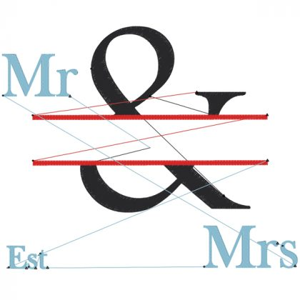 The & Design Style 3 Stitch View Mr & Mrs - Threaded Scribbles