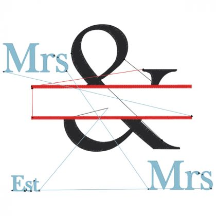 The & Design Style 3 Stitch View Mrs & Mrs - Threaded Scribbles
