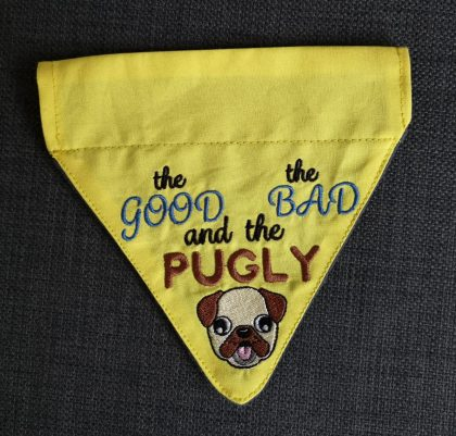 Pugly Bandana Completed- Threaded Scribbles