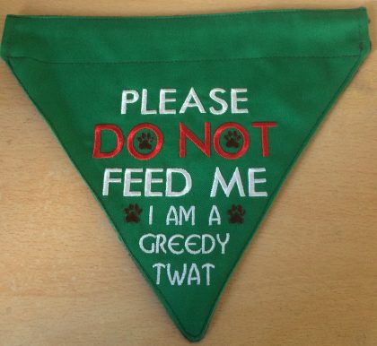Do Not Feed Me 2 finished Bandana - Threaded Scribbles