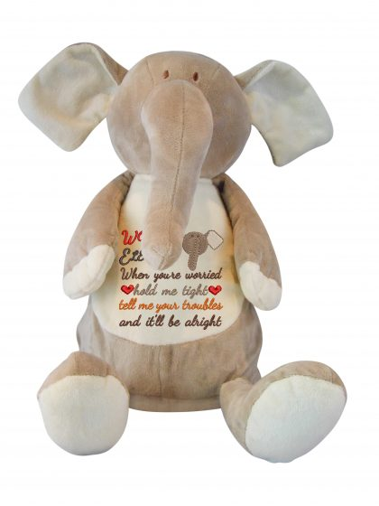 Ellie Elephant with Worry Design - Threaded Scribbles
