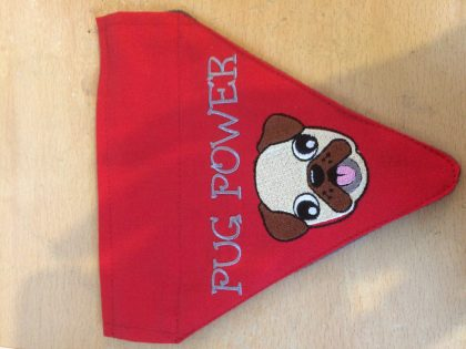 Pug Power Bandana Finished - Threaded Scribbles