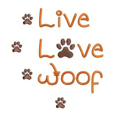 Live Love Woof Small Real View - Threaded Scribbles