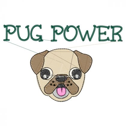 Pug Power Stitch View - Threaded Scribbles