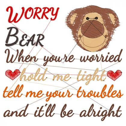 Worry Bear Baxter Stitch View - Threaded Scribbles
