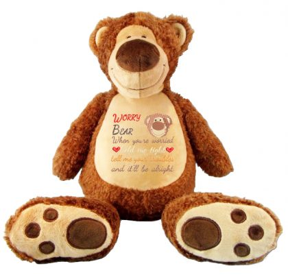Worry Bear Baxter with Design - Threaded Scribbles