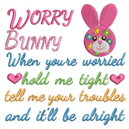 Worry Bunny Ruby Real View - Threaded Scribbles