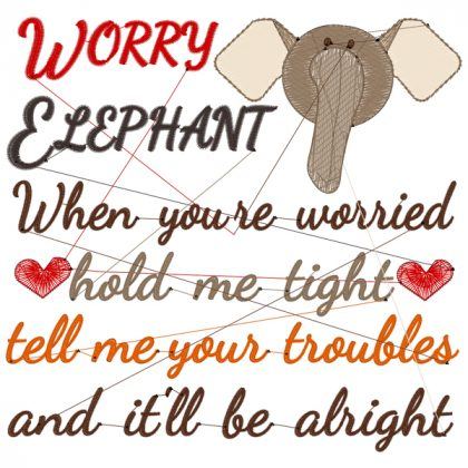 Worry Elephant Stitch View - Threaded Scribbles