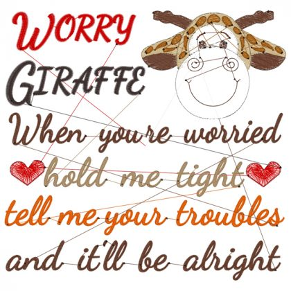 Worry Giraffe Stitch View - Threaded Scribbles