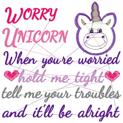 Worry Unicorn Stitch View - Threaded Scribbles