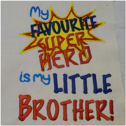 Super Hero Little Brother Stitch out - Threaded Scribbles